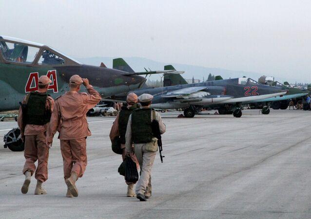 Russian warplanes at an airfield near Latakia