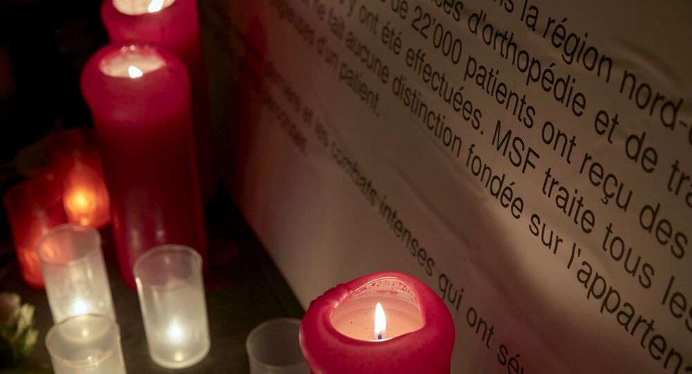 Candles are pictured outside the Medecins Sans Frontieres (MSF) headquarters in Geneva, Switzerland October 7, 2015