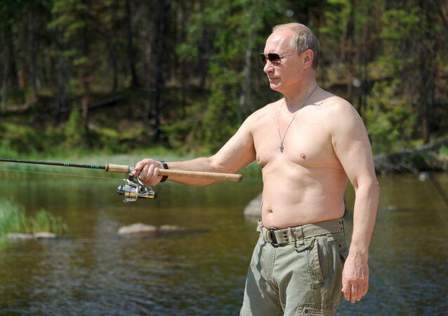 Vladimir Putin and Dmitry Medvedev on holiday