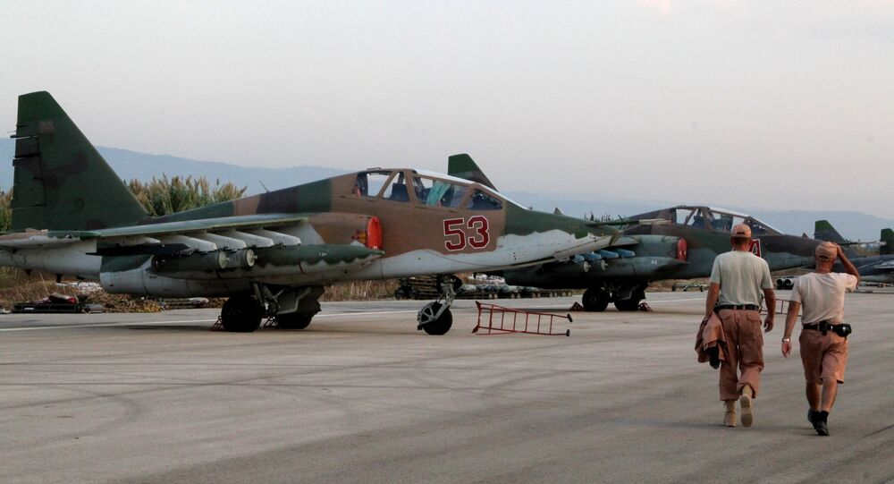 Russian warplanes at an airfield near Latakia