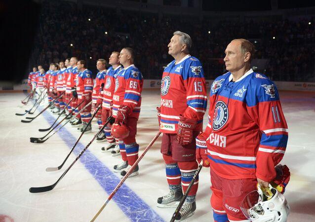 Russia's President Vladimir Putin played ice hockey alongside some ex-NFL stars players from the Night Hockey League on his birthday on Wednesday
