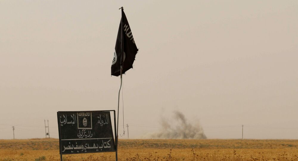 Smoke rises in the distance behind an Islamic State (IS) group flag and banner.