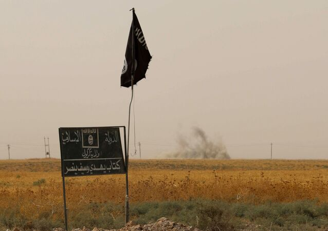 Islamic State (IS) group flag and banner. (File)