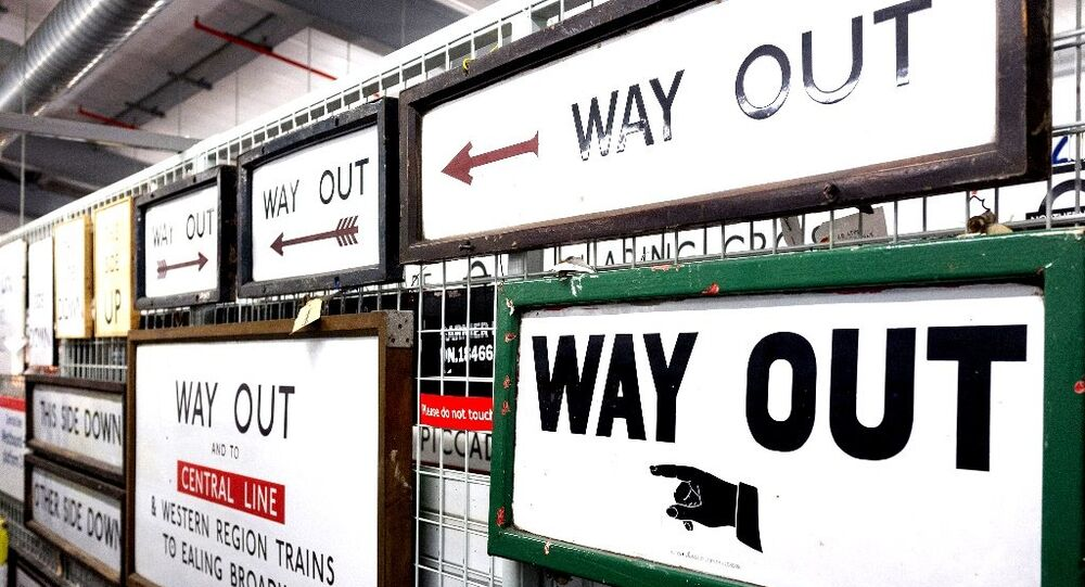 Way Out signs in London tube