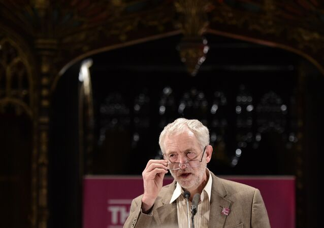 Opposition Labour party leader Jeremy Corbyn speaks at an anti-austerity rally at the cathedral in Manchester, north west England, on October 5, 2015, on the sidelines of the annual ruling Conservative party conference.