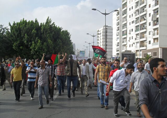 Demonstrators flood Martyrs' Square in Tripoli, 2013.