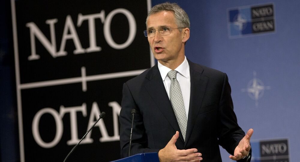 NATO Secretary General Jens Stoltenberg speaks during a media conference at NATO headquarters in Brussels