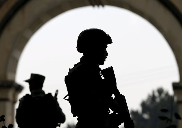 Afghan security forces stand guard, Kabul, Afghanistan