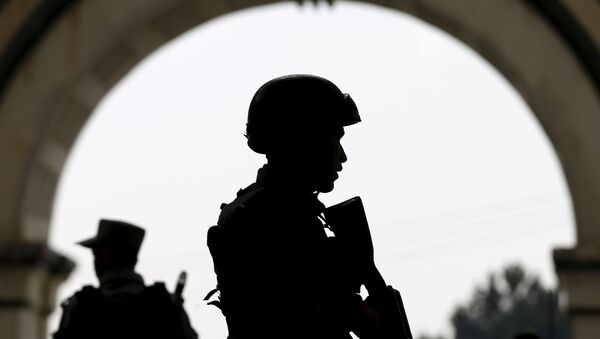 Afghan security forces stand guard, Kabul, Afghanistan - Sputnik International