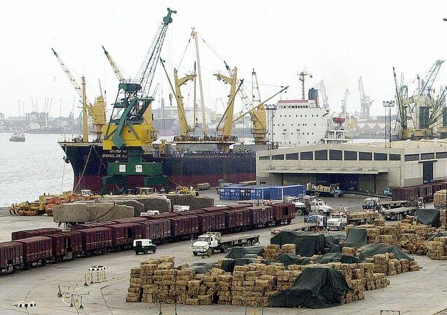 General view of Pakistani port Karachi