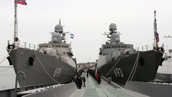 The latest missile ship project 11661K Dagestan (right), which becomes part of the Caspian Flotilla, in Makhachkala seaport. Left: the rocket ship Tatarstan. The Dagestan is the first ship of the Russian Navy armed with a new universal missile complex Caliber-NK, capable of applying several types of high-precision missiles manufactured using stealth technology. - Sputnik International