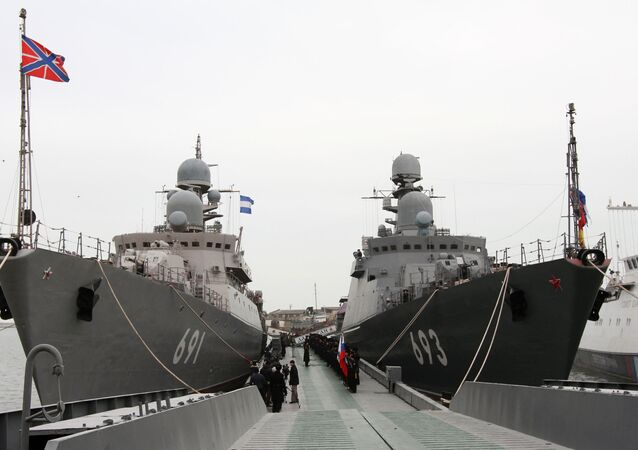 The latest missile ship project 11661K Dagestan (right), which becomes part of the Caspian Flotilla, in Makhachkala seaport. Left: the rocket ship Tatarstan. The Dagestan is the first ship of the Russian Navy armed with a new universal missile complex Caliber-NK, capable of applying several types of high-precision missiles manufactured using stealth technology.