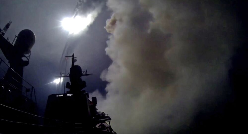 Caspian Flotilla ships fire missiles to attack ISIL positions in Syria