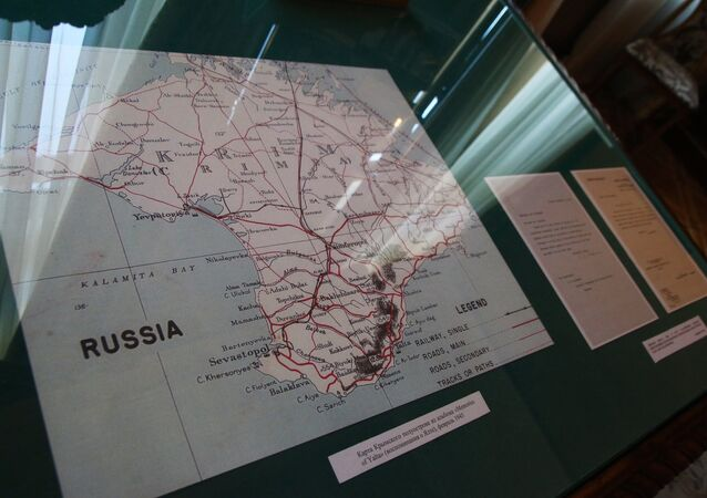 Map of the Crimean Peninsula from the Memories of Yalta album in the former reception of Emperor Nicholas II in the Livadia Palace