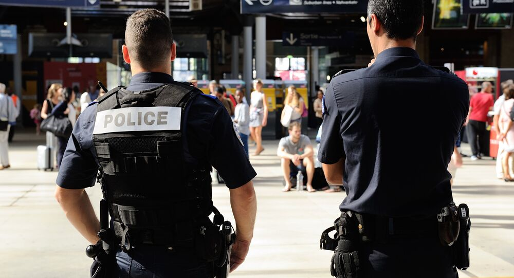 French police officers patrol at Gare du Nord train station in Paris, France, Saturday, Aug. 22, 2015.