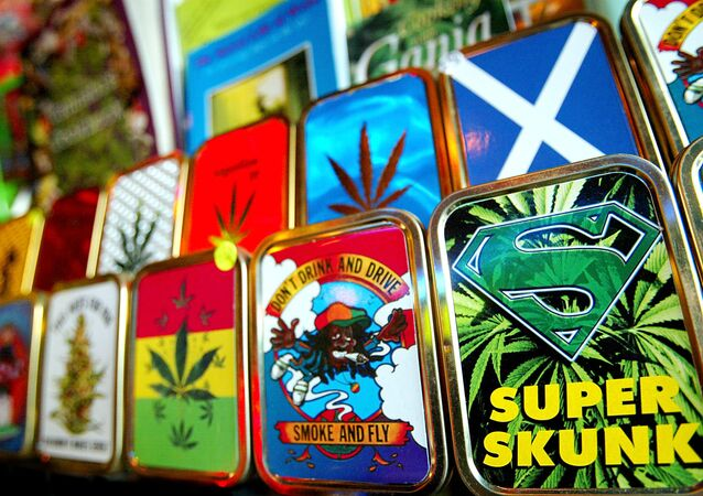 Paraphernalia associated with the use of cannabis is on sale at Camden Market, London, Thursday, Jan. 29, 2004.