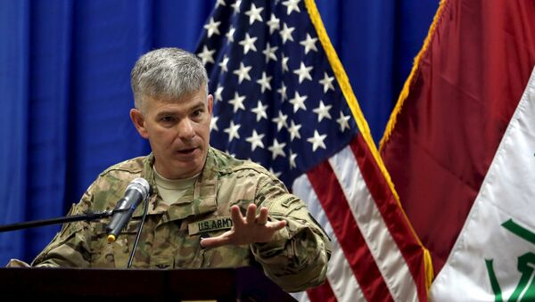 Col. Steve Warren, the new spokesman for the U.S.-led coalition in Iraq, speaks to reporters during a news conference at the U.S. Embassy in the heavily fortified Green Zone in Baghdad, Iraq, October 1, 2015 - Sputnik International