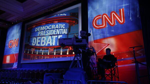 A camera operator waits in the debate hall before a CNN Democratic presidential debate. - Sputnik International