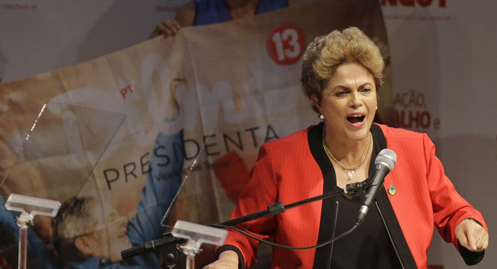 Brazil's President Dilma Rousseff addresses the Central Workers Union annual convention in Sao Paulo, Brazil, Tuesday, Oct. 13, 2015