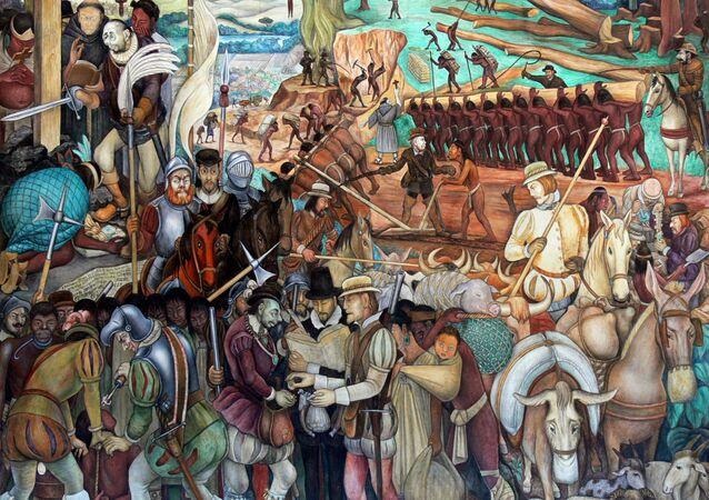 Mural of exploitation of Mexico by Spanish conquistadors, Palacio Nacional, Mexico City