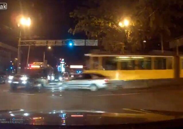 Tram loses brakes Kazakhstan