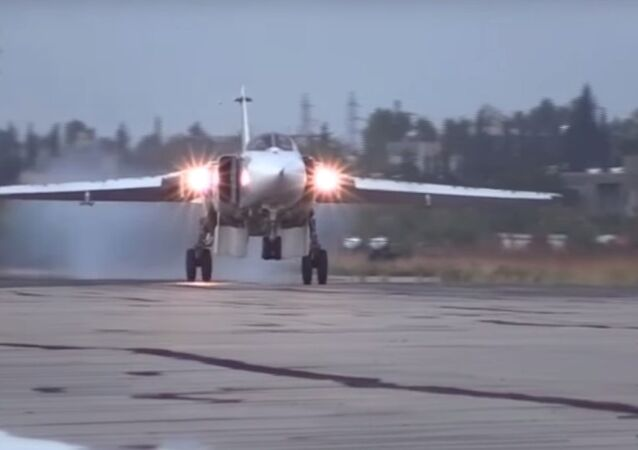 Su-24M aircraft takes off from Hmeymim airbase