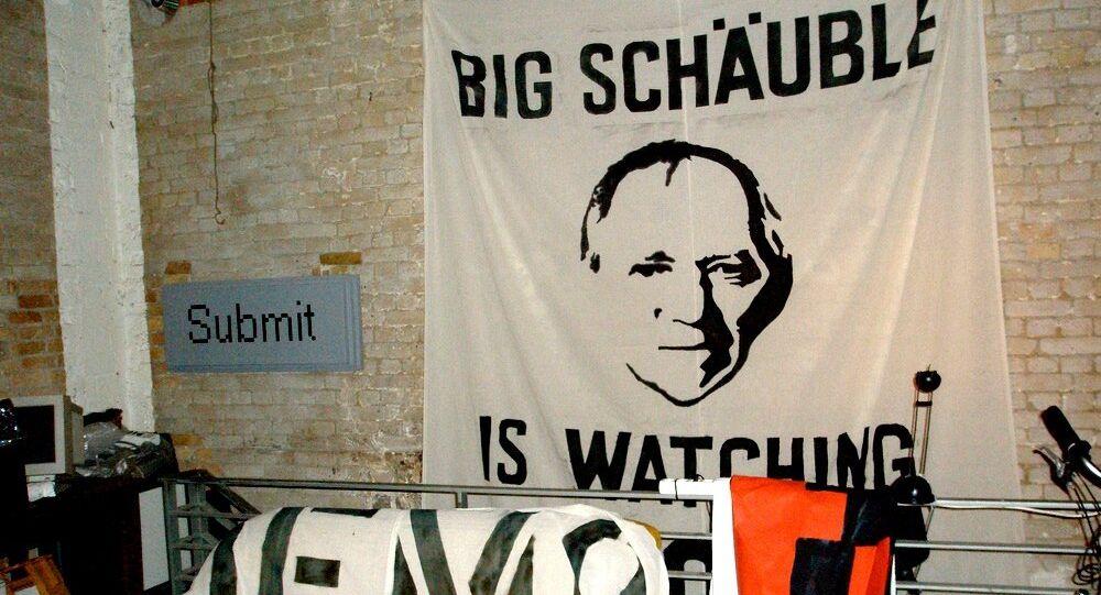 Demonstration against data retention in Germany.