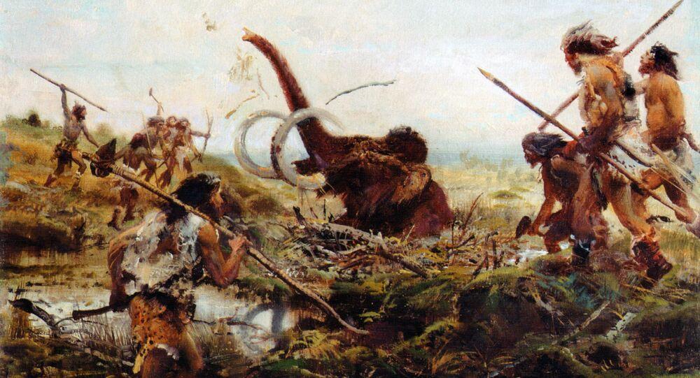 Zdenek Burian. Mammoth hunt in the swamp