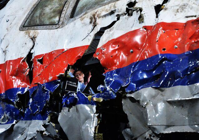 Часть реконструированного сбитого лайнера Boeing 777 Malaysia Airlines рейса MH17 во время доклада об обстоятельствах его крушения на Востоке Украины 17 июля 2014 года на военной базе Гилзе-Рейен в Нидерландах