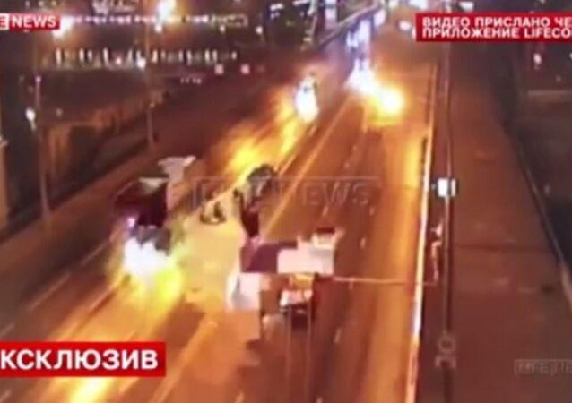 Ferrari crash in Moscow