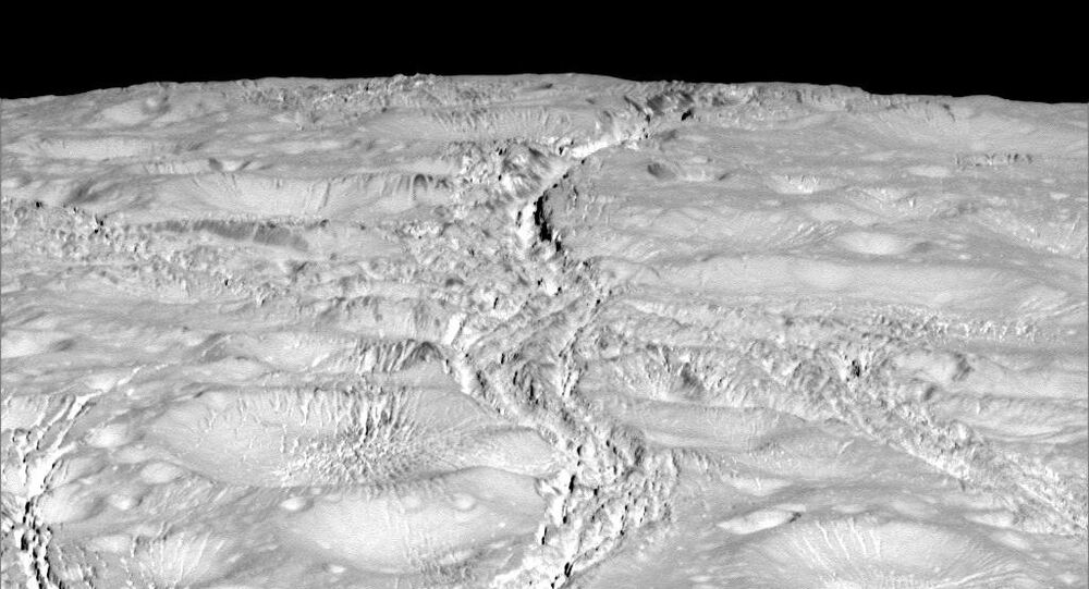NASA's Cassini spacecraft zoomed by Saturn's icy moon Enceladus on Oct. 14, 2015, capturing this stunning image of the moon's north pole.