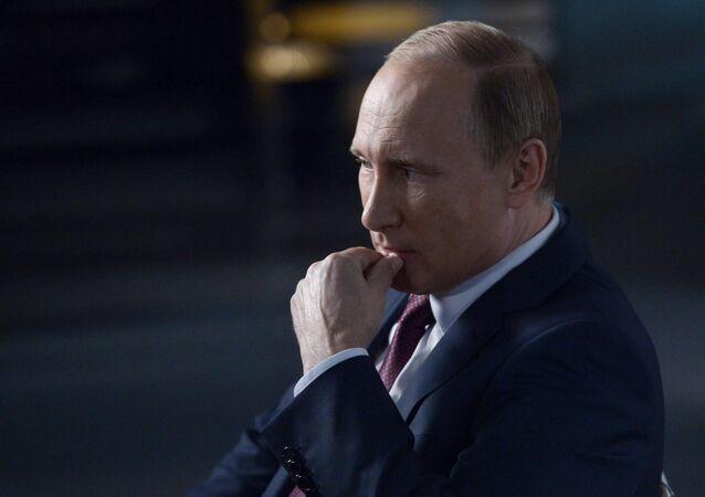 Russian President Vladimir Putin gives interview to Rossiya 1 TV anchor Vladimir Solovyov