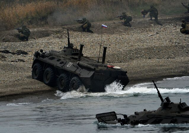 Marines during a landing operation as part of a combat drill held by the Pacific Fleet Marines Brigade at the Klerk base, Primorye.