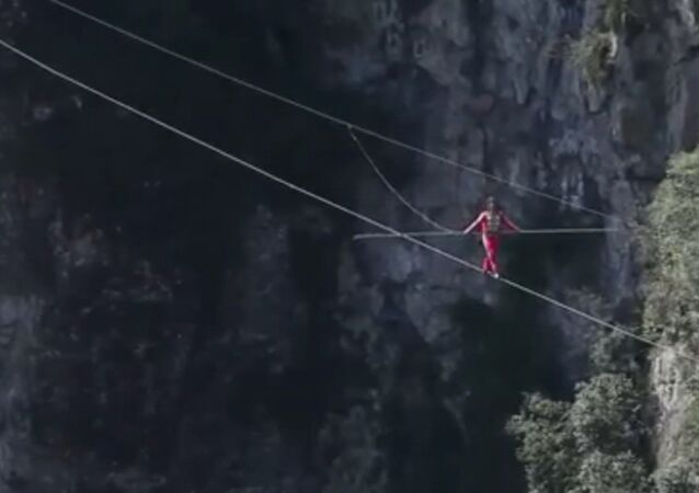 China: Drone captures stunning tightrope walk celebrating WWII victory