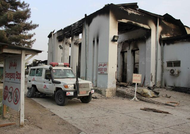 A vehicle is parked in front of a damaged building at Medecins Sans Frontieres (MSF) in Kunduz, Afghanistan October 16, 2015.