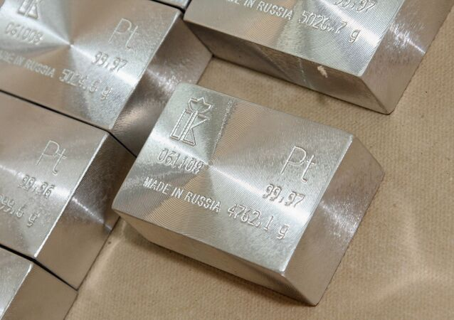 Platinum bar - finished produce of the Krastsvetmet non-ferrous metal plant, one of the world leaders of precious metal industry, based in Krasnoyarsk, Siberia