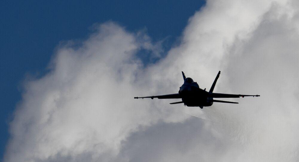 An F/A-18 Hornet fighter jet of the Swiss Air Force