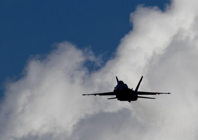 An F/A-18 Hornet fighter jet.