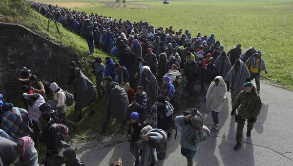 A group of migrants continue their journey near Dobova, Slovenia October 20, 2015 - Sputnik International