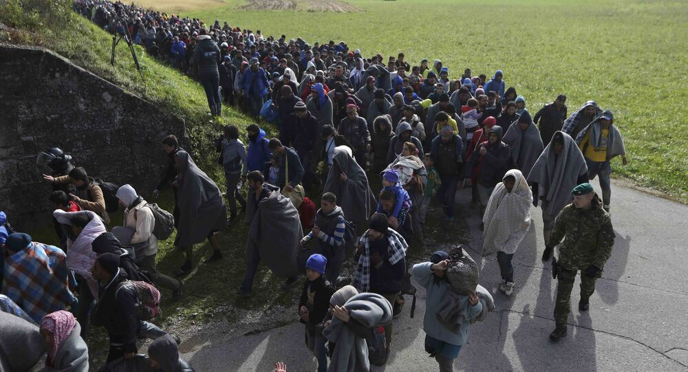 A group of migrants continue their journey near Dobova, Slovenia October 20, 2015