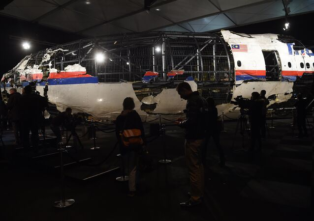 The wrecked cockipt of the Malaysia Airlines flight MH17 is presented to the press during a presentation of the final report on the cause of the its crash at the Gilze Rijen airbase October 13, 2015
