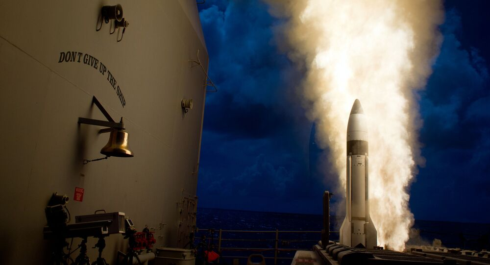 An SM-3 Block 1B interceptor is launched from the guided-missile cruiser. File photo
