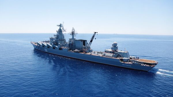 Moskva missile cruiser in the Mediterranean - Sputnik International