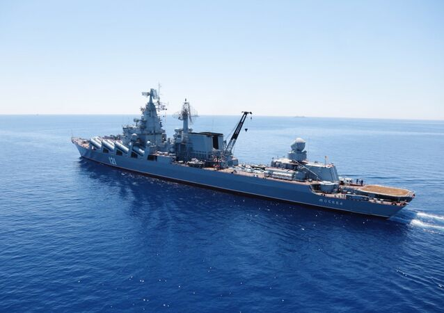 Moskva missile cruiser in the Mediterranean