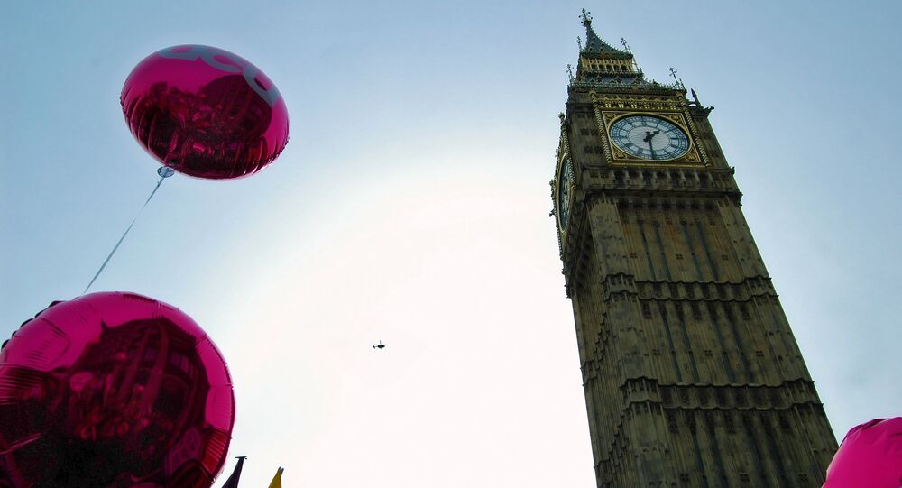UCU balloons on the TUC's A Future That Works demonstration in Westminster
