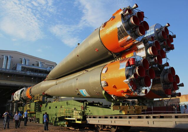 Soyuz-FG missile with Canopus and BKA satellites set on launchpad