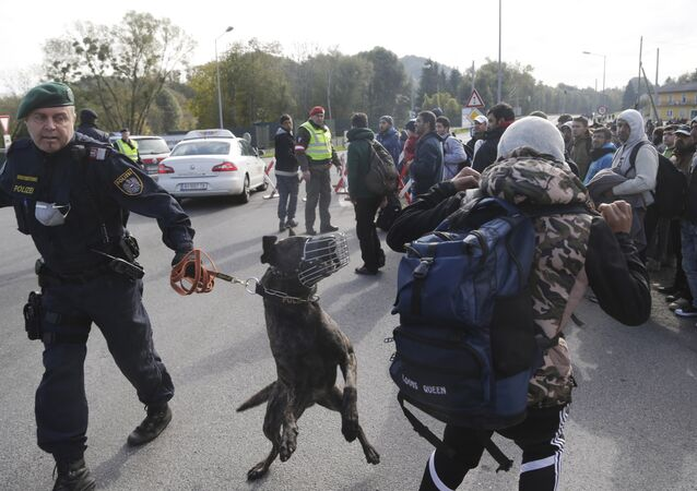 An Austrian policeman with a dog tries to maintain order after migrants left a camp on the border with Slovenia in Spielfeld, Austria, Thursday, Oct. 22, 2015