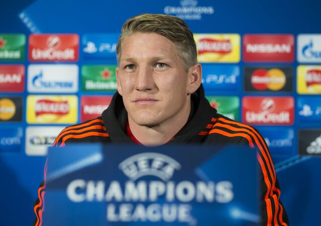 Manchester United's Bastian Schweinsteiger speaks during a press conference at Old Trafford Stadium, Manchester, England, Tuesday, Sept. 29, 2015