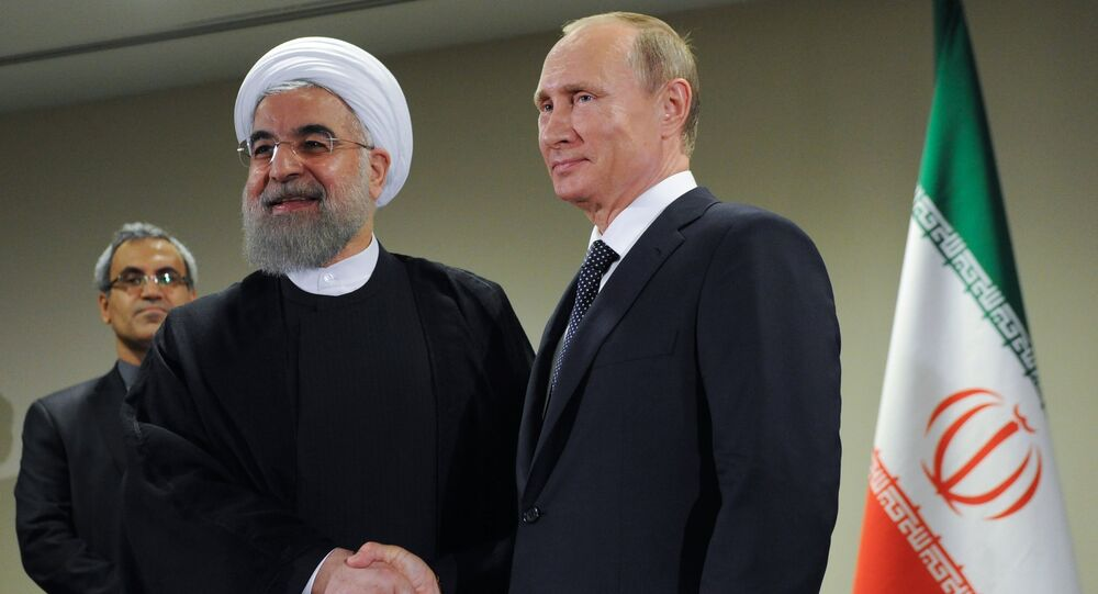 President of Russia Vladimir Putin, right, and President of the Islamic Republic of Iran Hassan Rouhani