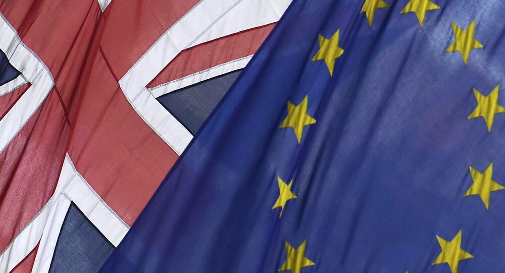 British Union flag and European Union flag